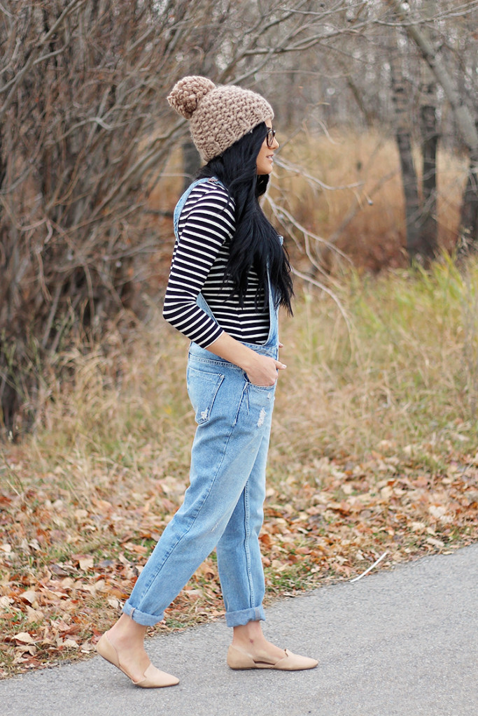 beanie with overalls