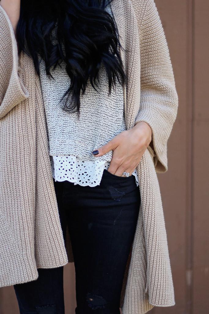 lace trim grey sweater