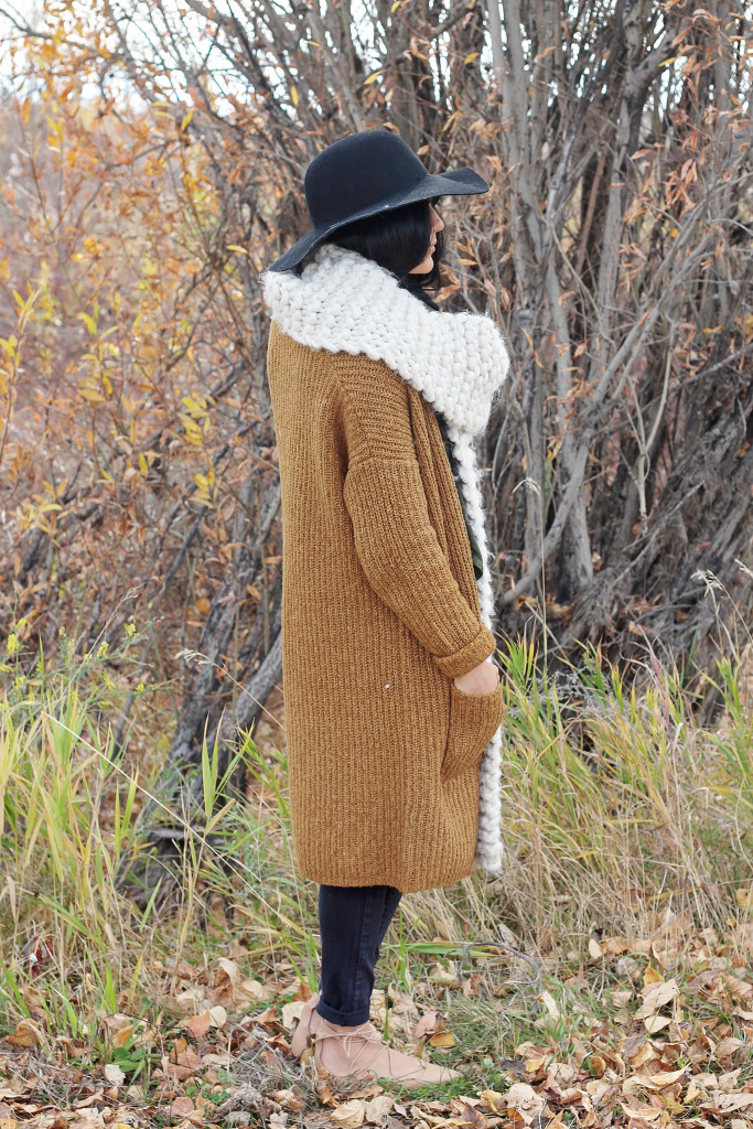 maxi brown cardigan