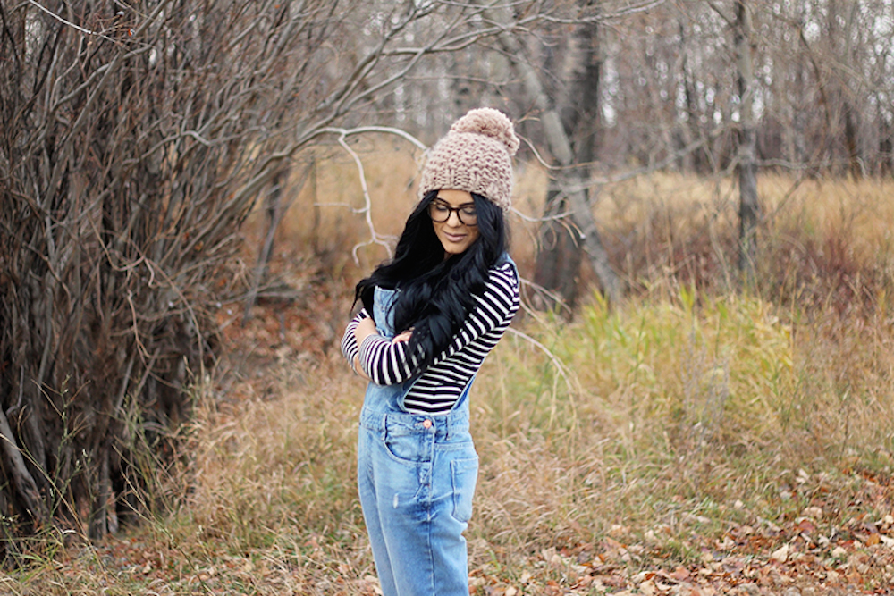 stripe top and overalls