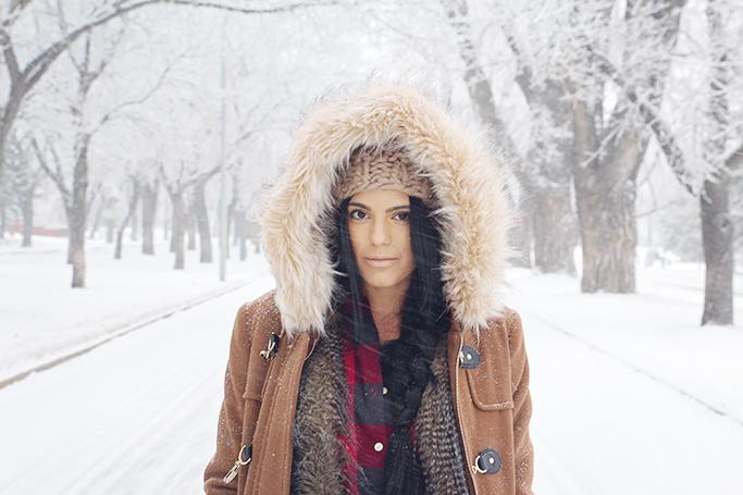 winter coat with faux fur trim