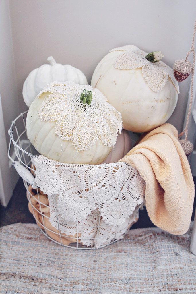 lace covered pumpkins
